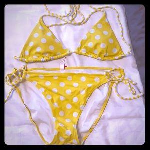 Victoria's Secret yellow polka dot string bikini
